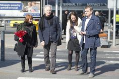 Alan Rickman and Rima Horton arriving at Prague. That's his sister Sheila Rickman in the white coat March 19, 2015
