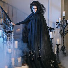 Black Tulle Cloak with Dead Roses Costume grandinroad.com