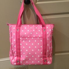 PB Teen Pink & White Polka Dot Bag Bag is so cute, like new with 2 outside pockets and 2 inside.  Wipe clean exterior.  Pottery barn teen. PB Teen Bags Totes