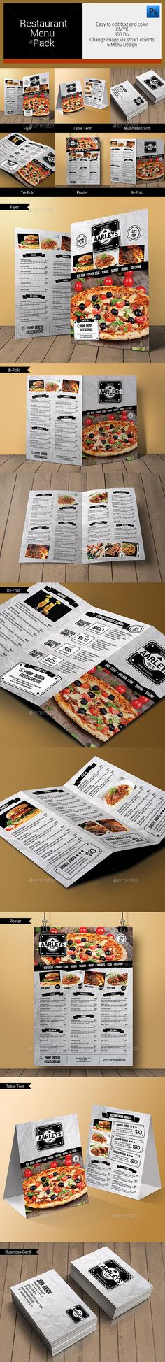 Vintage A3 Food Menu - 3 Color Versions Food menu, Print templates