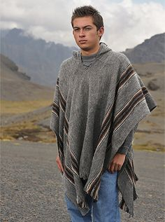 Gamboa Poncho for Men Comfortable Home Clothes for Men House Coat Men Wool Alpaca Poncho Hooded Alpaca Poncho, Hooded Poncho, Poncho Tops, Sweater Jacket, Vest Jacket, Men Sweater, Poncho Mexican, Mens Poncho, Poncho Outfit
