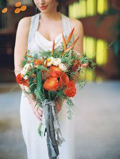 Eclectic Modern Bouquet in Orange and Gray | Allen Tsai Photography | http://heyweddinglady.com/edgy-modern-wedding-dramatic-blood-orange-black/