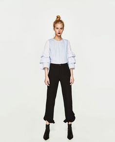 Image 1 of FLOWING FRILLED TROUSERS from Zara