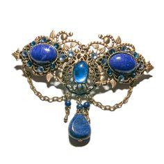 Barrette féerique bronze, verre, lapis lazuli et cristal de Swarovski
