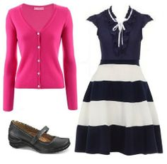 Business Casual Starter Kit Day 20: Bright pink cardigan, navy blouse, navy & white stripe skirt, black shoes.