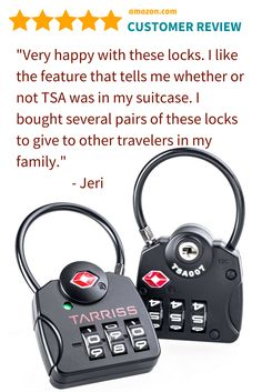 Makes a Great Travel Gift! Secure you luggage, and your peace of mind, from thieves on the plane, in the airport and in your hotel room. These TSA Locks are recognized and accepted by TSA agents ensuring they can inspect your checked bags without having to cut off your locks which would leave your belongings vulnerable to theft. #travelgift #travelaccessory #travelsafety