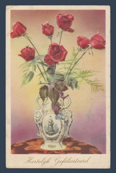 Postcards - Greetings & Congrads # 1200 -  Heartfelt Congratulations with Roses