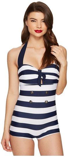 23d465c879 Unique Vintage Striped Nautical Garbo Suit Women s Swimsuits One Piece  Vintage One Piece Swimsuits