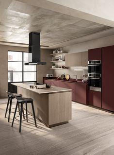 Kitchen 2019 on Behance Luxury Kitchen Design, Kitchen Room Design, Kitchen Cabinet Design, Kitchen Cabinetry, Home Decor Kitchen, Interior Design Kitchen, Smart Kitchen, Kitchen Modular, Scavolini Kitchens
