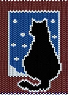 Cat in window\/winter Peyote Stitch Patterns, Beading Patterns Free, Seed Bead Patterns, Pony Bead Crafts, Picture Banner, Beaded Banners, Plastic Canvas Tissue Boxes, Animal Quilts, Beading Techniques