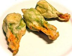 Fried Zucchini Flowers stuffed with mozzarella and anchovies