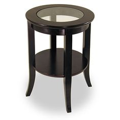 Winsome Wood Genoa Dark Espresso Glass End Table at Lowe's. Enhance the decor of your room with this beautiful and stylish accent table from the Genoa collection. In addition to an end table for your sofa, recliner Cheap End Tables, End Tables For Sale, Glass Top End Tables, Coffee And End Tables, Glass Top Coffee Table, Sofa End Tables, Glass Table, Side Tables, Wood Table