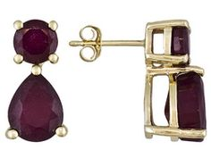 Mahaleo Ruby 6.00ctw Pear Shape And Round 10k Yellow Gold Earrings
