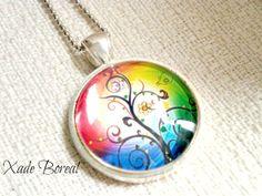 Bright color tree glass pendant necklace