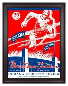 1933 Indiana Hoosiers vs Notre Dame Fighting Irish 30 x 40 Framed Canvas Historic Football Print