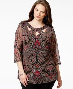 Inc International Concepts Plus Size Cutout-Neck Paisley-Print Tunic, Only at Macy& Inc International Concepts Plus Size Cutout-Neck Paisley-Print Tunic, Only at Macys Neck Designs For Suits, Neckline Designs, Dress Neck Designs, Designs For Dresses, Blouse Designs, Kurta Neck Design, Blouse Styles, Stylish Dresses, Dress Patterns