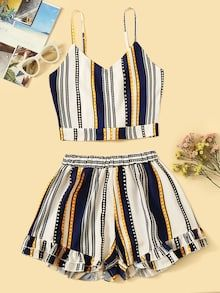 To find out about the Plus Multicolored Striped Cami Top With Tiered Layer Shorts at SHEIN, part of our latest Plus Size Co-Ords ready to shop online today! Girls Fashion Clothes, Teen Fashion Outfits, Girl Fashion, Girl Outfits, Clothes For Women, Ad Fashion, Emo Outfits, Lolita Fashion, Fashion Dresses
