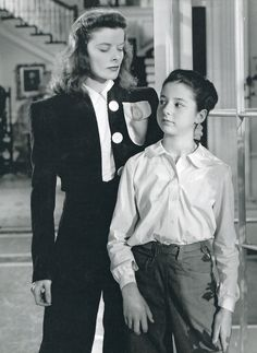 """Katharine Hepburn and Virginia Weidler in The Philadelphia Story. I love how in an interview Katharine always says """"I was copying her"""""""