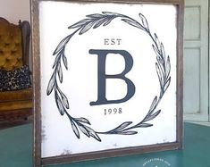 Family Initial Sign Established Date Laurel Wreath Farmhouse (Mix Fonts Cricut) Monogram Signs, Personalized Signs, Dark Weather, Farmhouse Signs, Farmhouse Style, Barn Signs, Diy Wood Signs, Brown Wood, White Wood