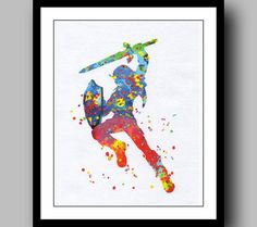 Legend of Zelda Print Watercolor Poster Game Poster Art Print Giclee Wall Illustrations Art Print 8x10 Wall Decor Home Decor No17