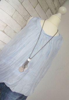 NEU **ESViViD* Top SILK Bluse SEIDE Shirt ITALY hellblau onesize 36 38 40