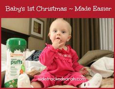 #ad Happy Family Brand shows me how much easier it is to make it through the holidays with a baby! She loves her Happy Baby Organic Puffs in the car and in stores.  #TisTheSqueezin