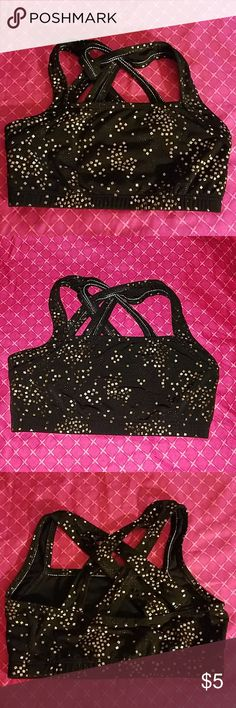 7babf5e81262e Girl s Black and Gold Sparkle Dance Gym Bra Top Girl s dance gym bra top