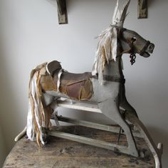 Primitive gray horse rocking glider French by AnitaSperoDesign