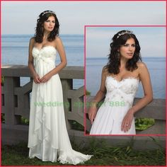 Strapless White Chiffon Lace Beade Ruffled Empire Maternity Beach Wedding Dress