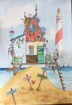 Watercolour and ink beach hut/ house