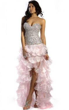 Eye-popping Pink Hi-low Strapless Corset Top Ruffles Dress