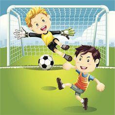 Children playing soccer outdoors. vector art illustration