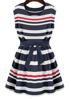 Fabulous Stripe Design Round Neck Sleeveless Mini Dress