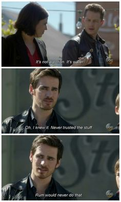 That's just a typical Killian thing to say!😂😂 TV Time - Once Upon a Time Ouat Funny Memes, Cute Memes, Once Upon A Time Funny, Once Up A Time, Captain Swan, Captain Hook, Disney Movies To Watch, Killian Jones, Never Trust