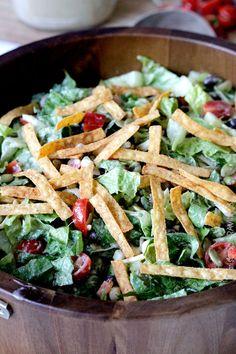 Southwest Pepper Jack Salad with Creamy Avocado Salsa Dressing   Carlsbad Cravings