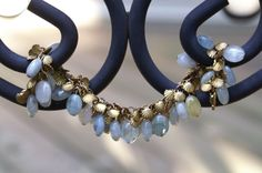 Pale blue green stone beaded bracelet with gold shell by SCBeads