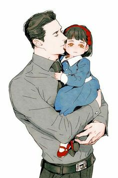 Hisao Ishikawa and his adopted daughter Kioko - All Grown Up! Fanarts Anime, Anime Characters, Character Drawing, Character Concept, Boy Character, Manga Art, Anime Art, Familia Anime, Anime Family