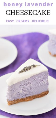 This honey lavender cheesecake has the most amazing flavor and is very easy to make. It's also got the best creamy texture. You will definitely be going back for a second piece! Homemade Desserts, No Bake Desserts, Easy Desserts, Baking Recipes, Cookie Recipes, Cheesecake Recipes, Cupcake Recipes, Pie Recipes, Pancakes And Waffles