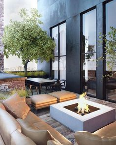 This penthouse patio has everything: elegant dining, elegant and comfy casual seating, and a firepit. Penthouse by Sergey Makhno Outdoor Rooms, Outdoor Living, Exterior Design, Interior And Exterior, Modern Exterior, Fire Pit Furniture, Outdoor Furniture, Outdoor Fire, Outdoor Seating