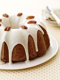 This old-fashioned nut cake is generously filled with pecans. Be sure to chop them finely so they spread evenly throughout the cake.