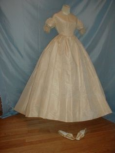 Antique 1850 to 1860 Ivory Silk Moire Wedding Dress and Shoes in Clothing, Shoes & Accessories, Vintage, Women's Vintage Clothing, Dresses | eBay