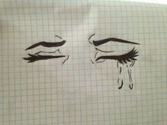 Afbeelding via We Heart It https://weheartit.com/entry/147180326 #black #crying #drawing #gridpaper #sad #cryingeyes #softpale #grungedrawing