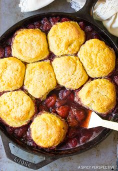 Strawberry Shortcake Skillet Cobbler Recipe - A roasted strawberry cobbler, with sweet biscuit topping! This simple summertime treat is easy to make.