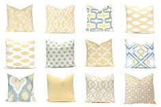 Couch Pillow Cover, Decorative Throw Pillow Cover, Yellow Pillow, Sofa Pillow Blue Gold Ikat Cushion Cover One Blue Gray Gold Yellow
