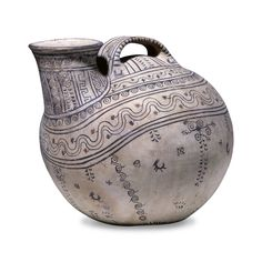 Decorated pottery askos (Etruscan) - Daunian, about 350-325 BC, from Canosa, Puglia, Italy