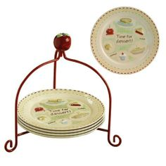 Grasslands Road Hayride 4-Piece Dessert Plate Set with Apple Handle Caddy by amscan - kitchen. $48.00. 4 dishwasher and microwave safe plates. Embossed caramel apple, pie, cookie, cake, cupcake on plates. 5-piece is a perfect hostess gift. High gloss ceramic/metal stand. Plates read: time for dessert;, sweet;, yummy;. Grasslands Road Hayride Dessert Plate 4-piece Set with Apple Handle Metal Caddy with Ceramic Apple Handle.