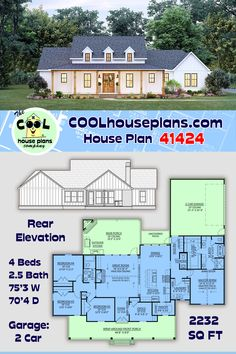 Another from the classic farmhouse house plan collection, at Family Home Plans. This farmhouse plan offers over 2200 sq ft, 4 beds and 2.5 baths. This series of country style designs feature large front porches and covered rear porches with outdoor fireplace and kitchen. Vaulted ceilings in the master bedroom and great room. #houseplan #floorplans #newhome #newconstruction #homeplan #home #house #newhouseplan #blueprints #futurehome #newhomeplan #homedesign #buildhouse #build #dreamhouse Family House Plans, New House Plans, Farmhouse Floor Plans, Country Farmhouse, Porch Elevation, Southern Style, Country Style, Local Builders, Simply Home