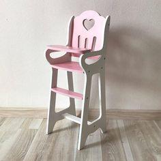 READY TO SHIP Wooden Doll Highchair Chair Handmade Blue