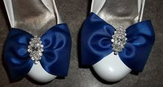 Cobalt Blue Satin Bridal Shoe Clips  pair  with by ShoeClipsOnly, $28.00