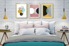 Wall art, Wall Art Print, Abstract art, Bedroom wall art, Living room art, Minimalist art, Geometric print, Brown and gold print, Printable  ❥ ❥ ❥ Look for current coupons and sales in the Shop Announcement. ❥ ❥ ❥ ❥ ❥ Be right on trend with this beautiful and genuine handmade abstract wall art print, featuring a minimalist, geometric circle design, with delicate grunge textures, in an attractive combination of Grey, Pink, Mint, and Yellow, along with an Inspirational quote - Inspiration…